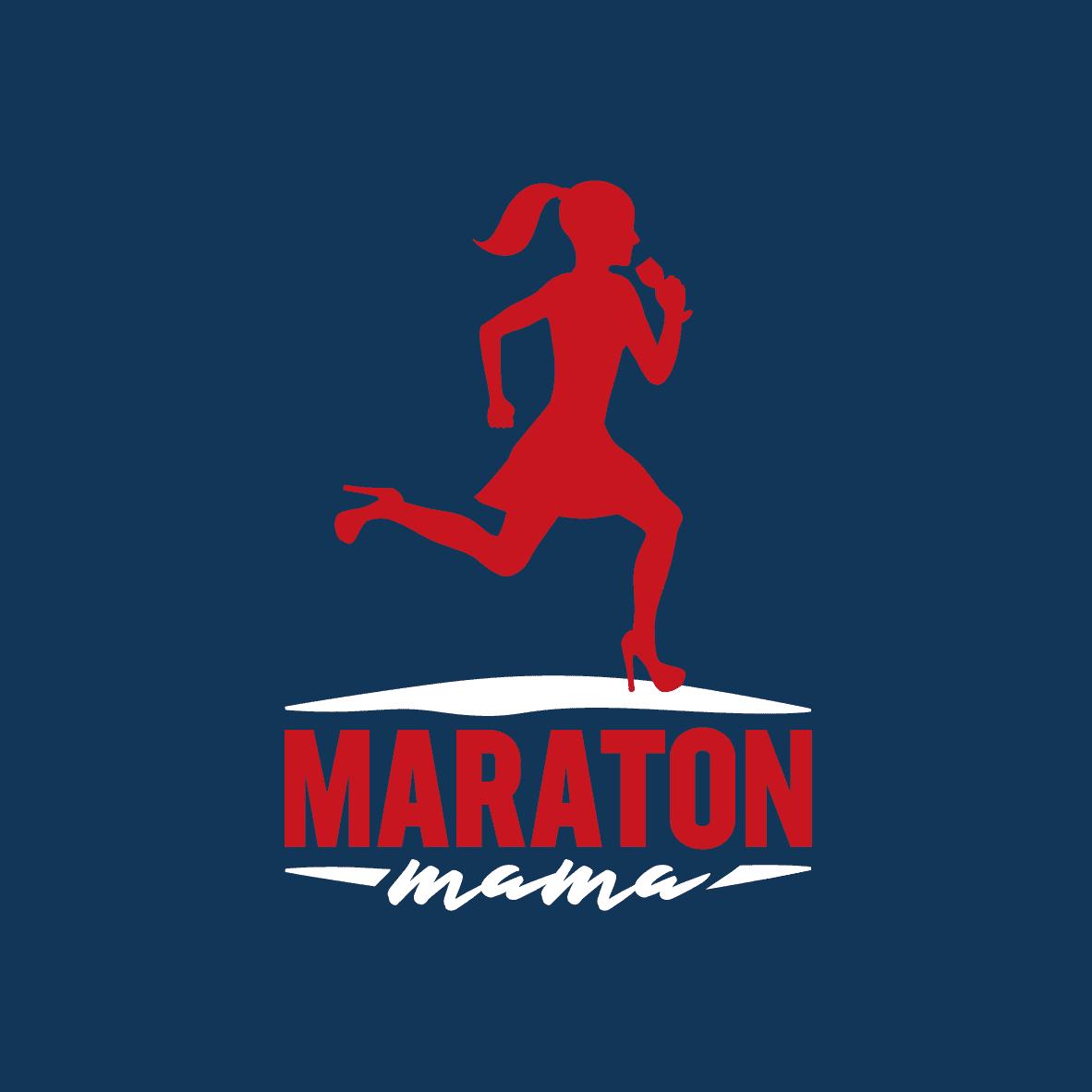 MARATON_mama logo vertikální – varianta pro tričko – tmavě modrý podklad